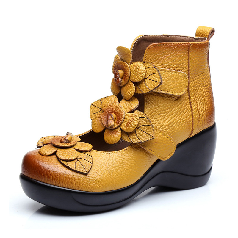 2017 Women Thick Heels plarform Sandals Closed Toe Flower Ethnic Style Handmade Genuine Leather Personalized Women Sandal 2017 summer women s wedges sandals closed toe flower ethnic style handmade genuine leather personalized women slippers shoes