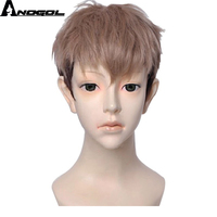 Anogol Attack Natural Short Straight Layered Titan Two Tones Brown Ombre Black Synthetic Men's Cosplay Wig For Halloween