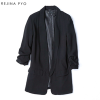 Rejina Pyo Silk Loose Casual Long Sleeve Women S Suit Coat Female Black Long Formal Suit