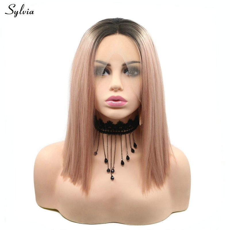 Sylvia Short Bob Dark Root Ombre Milky Lavender Heat Resistant Fiber Hair Straight Mixed Pink Synthetic Lace Front Wig for Women