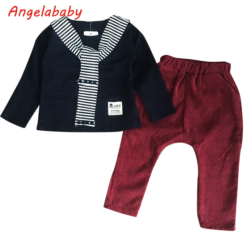 Boys Clothing Set 2018 Autumn New Boys Korean Casual Sweater + Solid Color Fashion Casual Pants 2Pcs Kids Clothes Suit