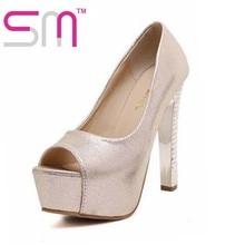 Summer Thick Platform Women Pumps Gold Silver Color Women Shoes Peep Toe Super High Heels Shoes Woman