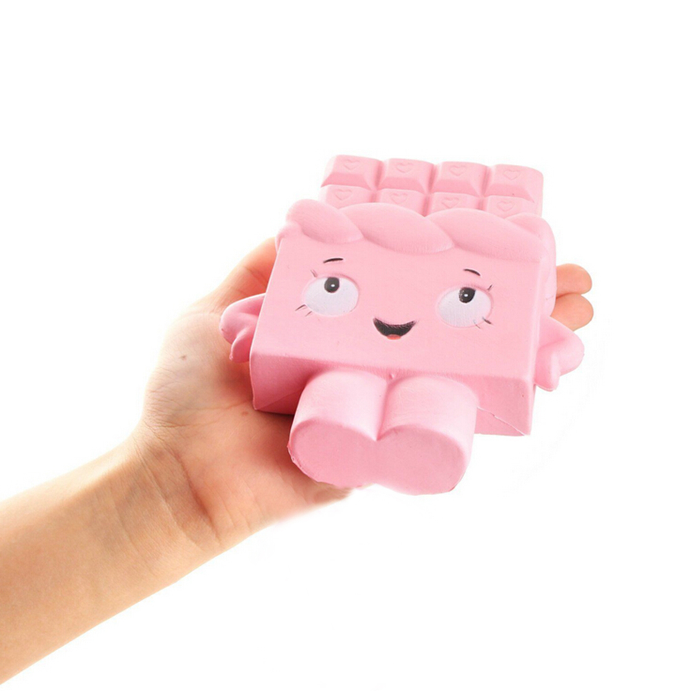 Jumbo Chocolate Squishy Soft Slow Rising Scented Gift Fun Toy Mobile Phone Straps (Pink)