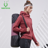 Vansydical Sports Hoodies Autumn Winter Women's Gym Clothes Yoga Pullover Tops Long Sleeve Outdoor Fitness Workout Outwear