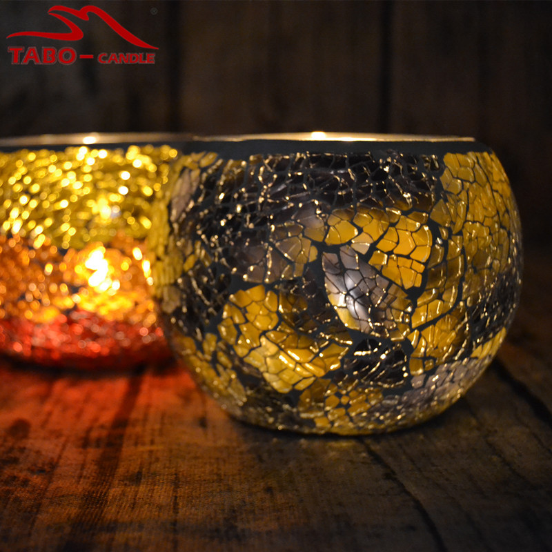 European Style Glass Candle Holder Handmade Mosaic Glass Candle Holder For Tea Light And Votive Candle Home Decor Christmas