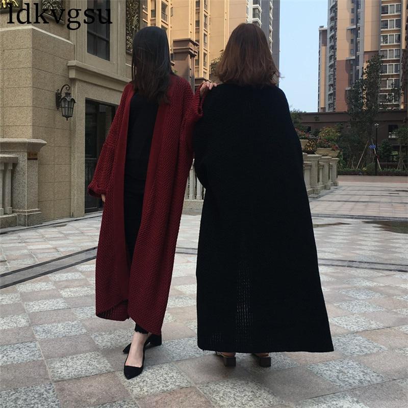 Kadın Giyim'ten Hırkalar'de 2019 Yeni Moda Batwing Kollu Uzun Hırka Trençkot Kadın Gevşek Büyük Boy Örgü Ilkbahar Sonbahar Kazak Elbise V37'da  Grup 2