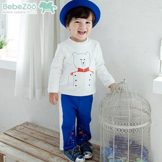 2PCs/set Children Boy Clothing Korean Cute Bear Suit Thick Warm Tshirt Pants Baby Boy Winter Clothes