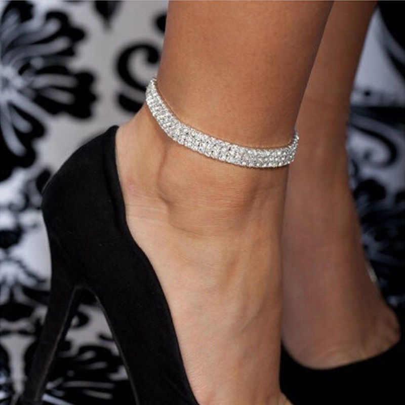 TREAZY/серебряный цвет; Модный растягивающийся ножной браслет; 3 ряда; браслет на щиколотке с кристаллами; босоножки; Pulseras Tobilleras Mujer; ювелирные изделия для ног