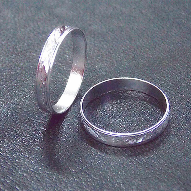 คลาสสิกแฟชั่นบางส่วนแคบ titanium แหวนเงิน/แหวนผู้ชายและผู้หญิงรุ่นงานแต่งงานแหวนเรขาคณิตหางแหวน