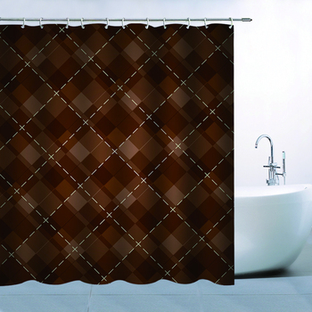 Geometrical Pattern Theme Shower Curtain Brown Geometrical Pattern Waterproof Mildew Resistant Polyester 70 x 70 Inches zwbra shower curtain