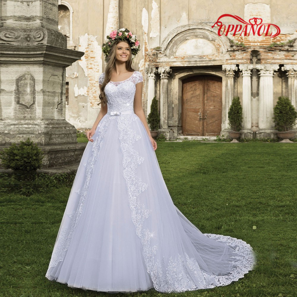 Inexpensive Wedding Scalloped Cap Sleeve A Line See Through Back Gowns Online With Fashion Bridal Designers Wd86