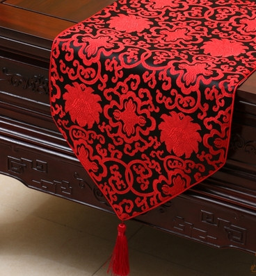 Extra Long Lucky Fancy Table Runner Cover Cloth Chinese Style High End  Damask Fabric Coffee Table