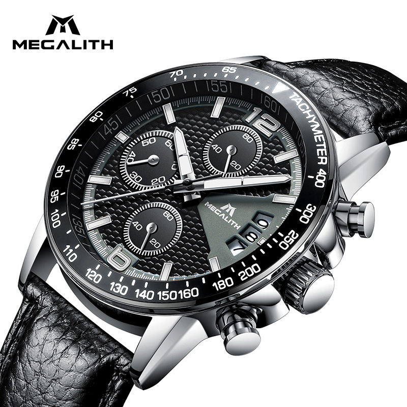 MEGALITH Luxury Brand Watches Men Chronograph Waterproof Mens Watches Date Calendar Business Mens Quartz Watch Relogio Masculino megalith quartz watches mens waterproof chronograph calendar silver stainless steel wrist watch gents sport business men s watch