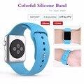 Esporte pulseira de silicone colorido para iwatch série 1 2 apple watch band 38mm mulheres pulseira de pulso com pulseira de borracha conector