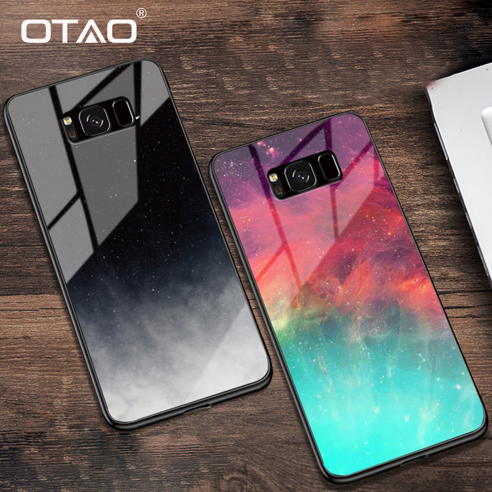 OTAO Starry Sky Tempered Glass Case For Samsung Galaxy S9 S8 Plus S7 Edge Cover Painted Space Case For Samsung Note 8 9 Coque(China)
