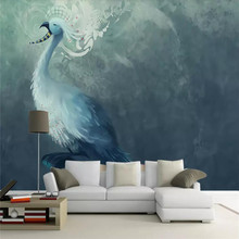 Custom wallpaper European creative nostalgic abstract artistic concept blue peacock back background wall - waterproof material