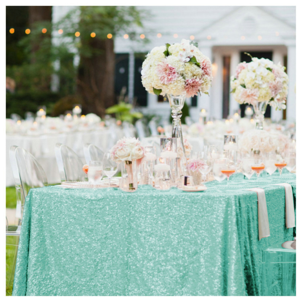 Elegant 50x72in Mint Green Sequin Table Cloth Wholesale ...