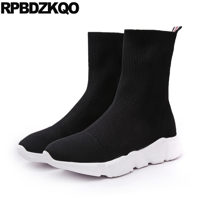 Black Celebrity Knit Sock Elastic Sneakers Boots Ankle Flat Slip On Winter Casual Fall Short Stretch Designer Shoes Women Luxury slip on winter boots stretch lycra