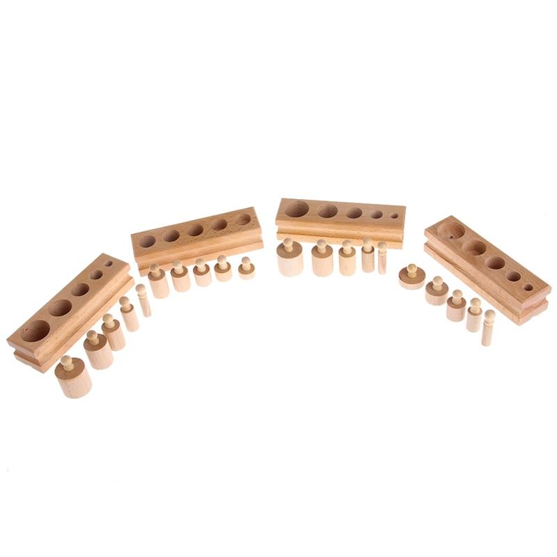 Развивающие деревянные малыш Монтессори цилиндра гнездо раннего развития игрушки Обучение W30