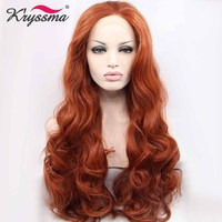 Copper Red Long Wig Orange Auburn Wavy Wigs for Women Synthetic Lace Front Wig Party Wig Glueless Heat Resistant Fiber