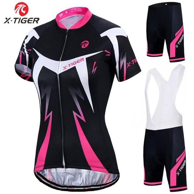 X-tiger conjunto de camisa de ciclismo feminino verão anti-uv ciclismo bicicleta roupas de secagem rápida mountain bike ciclismo conjunto 1