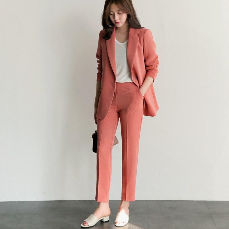 Fashion Casual Women Business Suits Formal Work Wear 2 Piece Slim Female Office Uniform Styles Ladies Elegant Trouser Suit W68