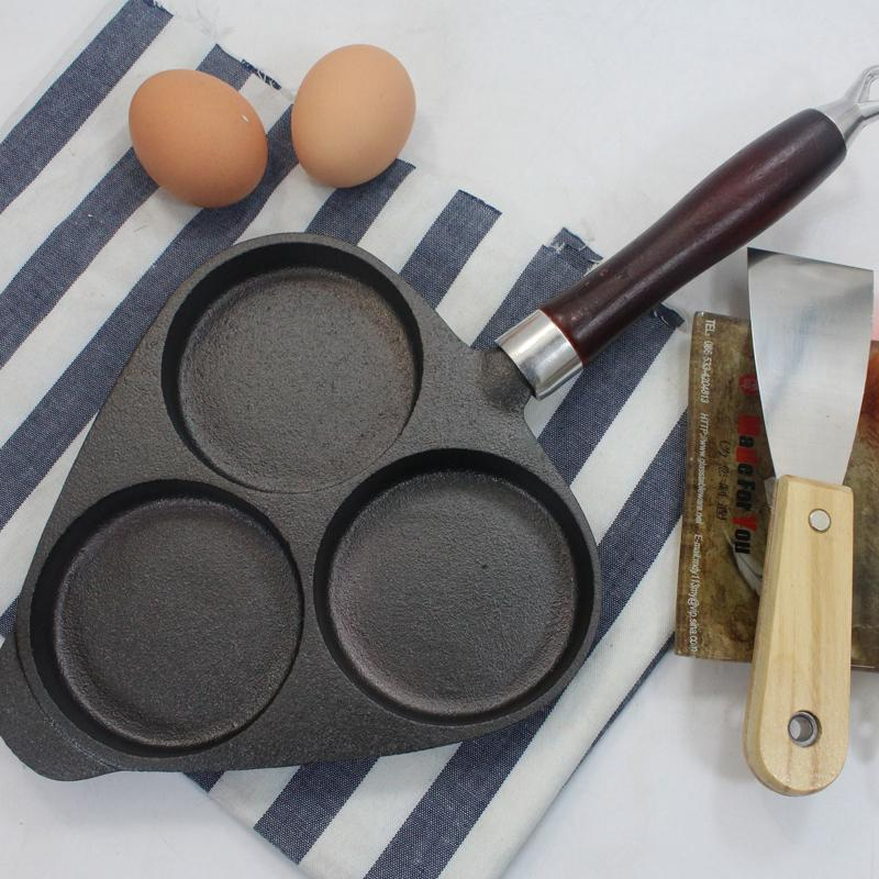 High quality cast iron fried eggs pot three hole pan thickening frying pan no coating fried egg steak