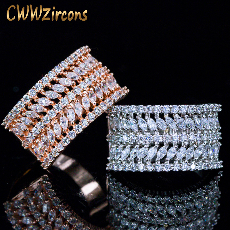 CWWZircons 5 Row Multilayer Rose Gold and Silver Color AAA Cubic Zirconia Big Wide Wedding Engagement Rings for Women R050 yoursfs brand luxury wedding engagement rings for women anel ballshape austria crystal 18 k rose gold plated aaa cubic zirconia g