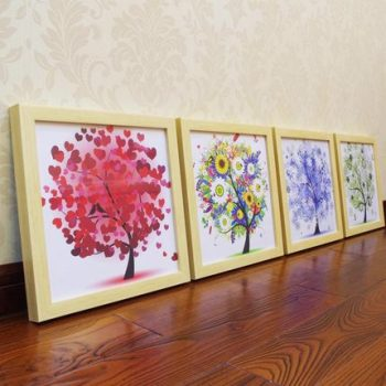 Natural wood Frame fortune tree living room decoration painting simple sofa background wall painting bedroom porch mural