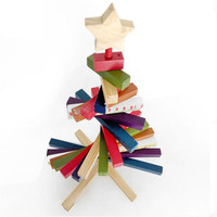 Abbyfrank 30 Cm Wooden Striped Rotation Christmas Tree Blocks Toys Table Decoration Xmas Gift Toy For