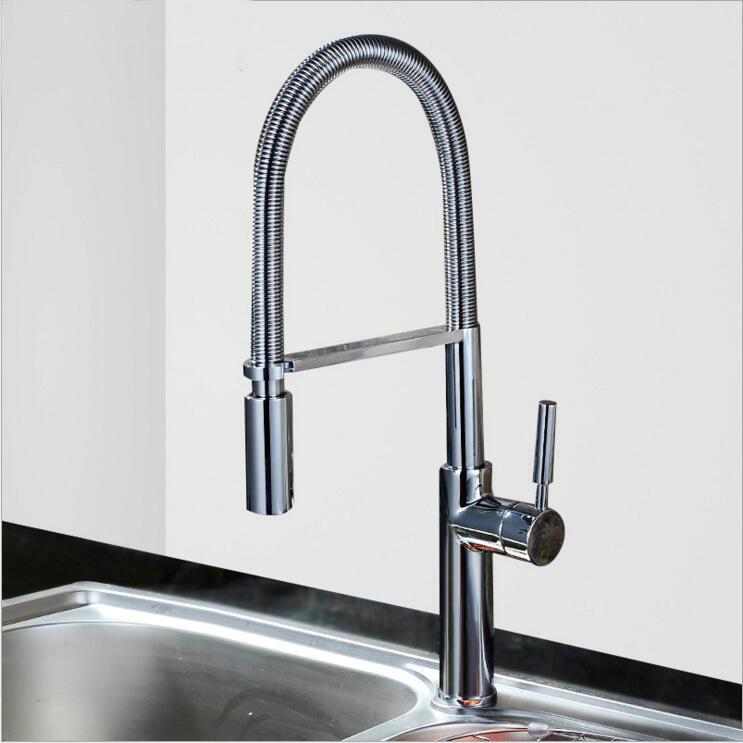 Two Water Outlet All Copper Basin Faucet Hot And Cold Stretch Retractable  Nozzle Shampoo Basin Washbasin