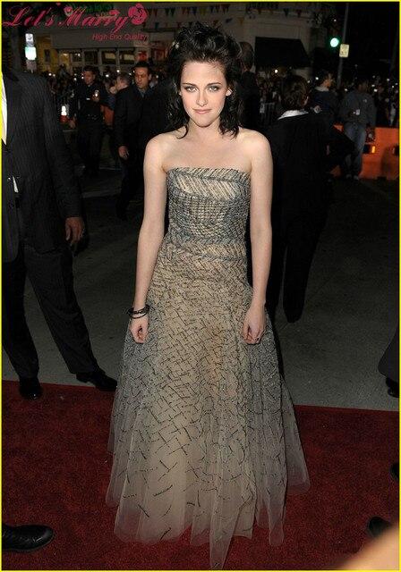 Wdz-121 elegante fiesta de Prom Kristen Stewart vestidos celebridad-inspirados mano llena de coser abalorios vestido del A-Line del plisado Tulle