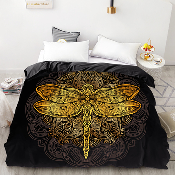 Black Queen Comforter | 3D HD Digital Printing Custom Duvet Cover,Comforter/Quilt/Blanket Case Queen King Bedding 220x240,Bedclothes Golden Crane Black