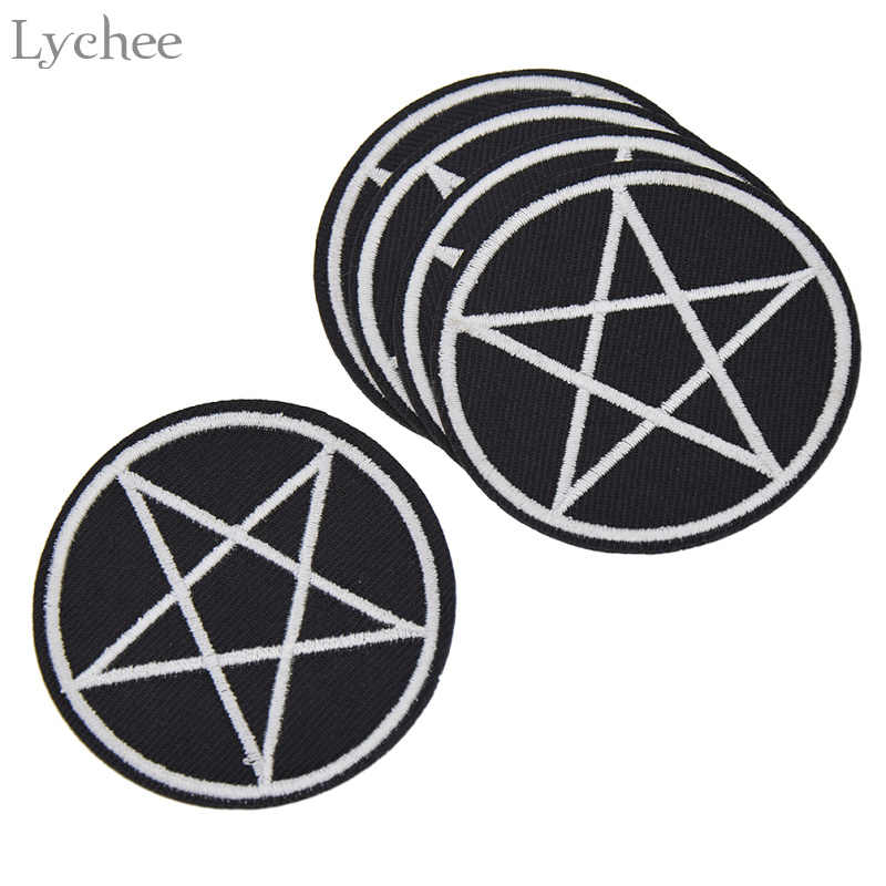 Lychee 5pcs Pentagram Gothic Patches DIY Handmade Garment Applique Sew On Clothes Embroidery Crafts For Bags Hats