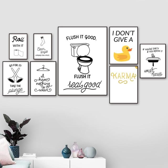 Toilet Paper Toilet Sink Socks Duck Quotes Wall Art  1