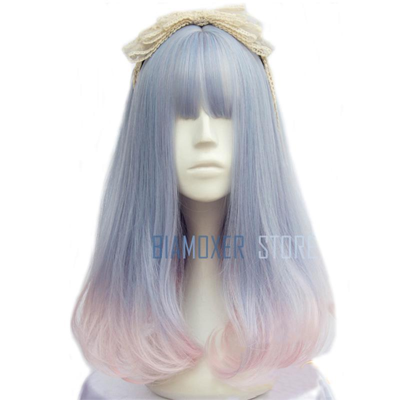 Biamoxer New 40cm/15.74inch Women Harajuku Wigs Mixed color Heat Resistant Synthetic Hair Perucas Cosplay Wigs for Women