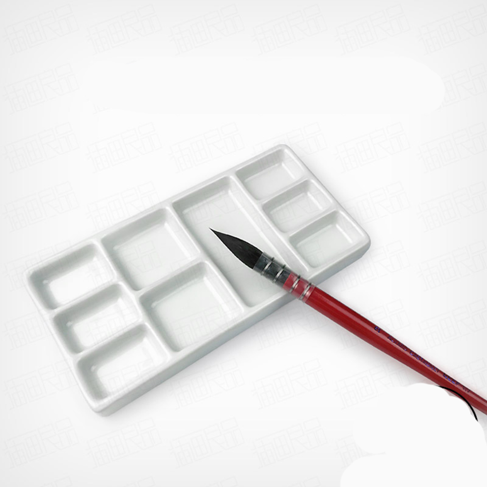 1 Pc Ceramics Square Watercolor Palette Water Tank Office Calligraphy Painting Supplies Ceramic Artist Paint Palette Tray