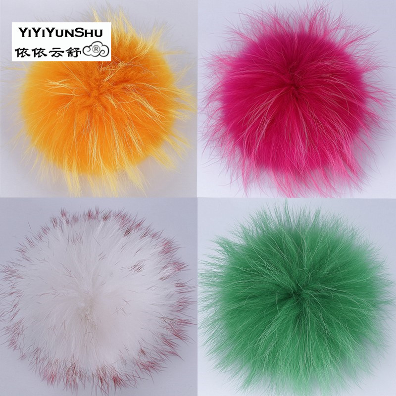 YIYIYUNSHU Full pelt Real Raccoon Fur Pompom for Hat Natural Fur Pom Poms Ball Caps Big Fur Ball For Shoes Hats Bags new star spring cotton baby hat for 6 months 2 years with fluffy raccoon fox fur pom poms touca kids caps for boys and girls