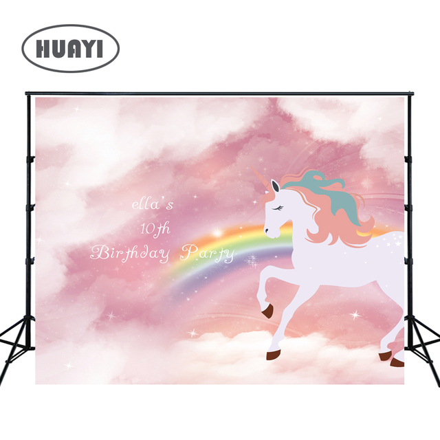 98fb59378d5b4 photo backdrops Birthday banner pink sky golden unicorn rainbow party  background newborn props photo studio photobooth W-335
