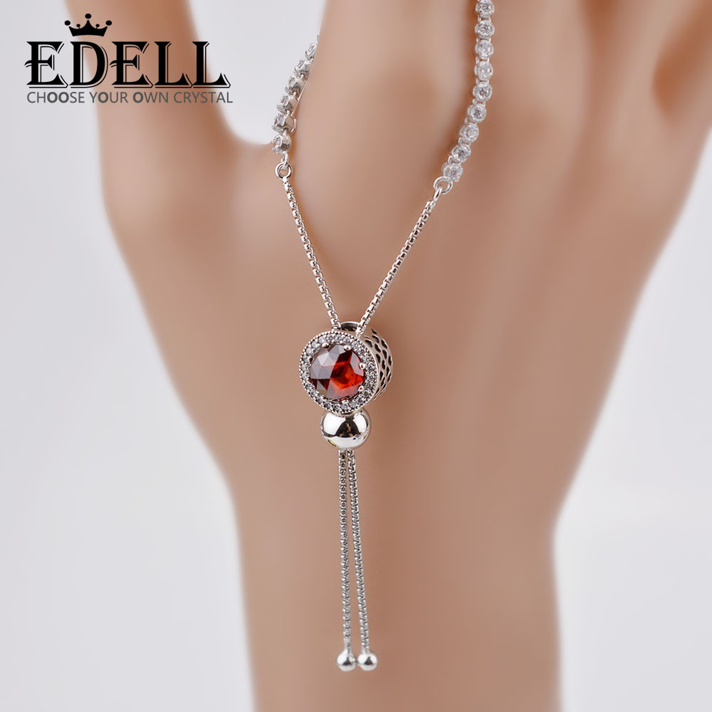 EDELL 925 Sterling Silver Bracelet for Women With Cubic Zircon Crystal Charm Bracelets Wedding Jewelry Gift For Woman AdjustableEDELL 925 Sterling Silver Bracelet for Women With Cubic Zircon Crystal Charm Bracelets Wedding Jewelry Gift For Woman Adjustable