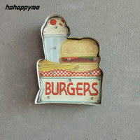 Burgers LED Signs Shopping Clubs Decorative Plates Plaque Vintage Metal Signs Funny Poster Wall Art Home Decor