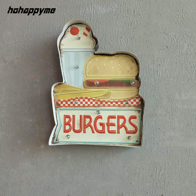 Hamburgers panneaux de LED Clubs commerciaux plaques décoratives Plaque Vintage métal signes drôle affiche mur Art décor à la maison