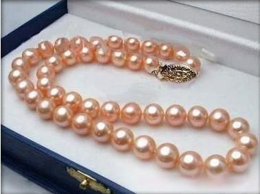 """100% Venta de Imagen completo 8-9mm Pink Perlas Cultivadas de Akoya Collar 18 """"(sin caja)"""