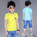 Big Kids Boys Summer 2016 Cotton Short Sleeved T Shirt +pants Suit Boy Baby Children's  2pc Sets 4-14ages Free Shipping