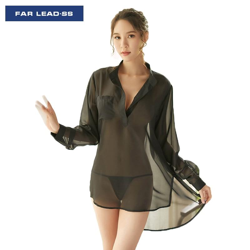 0943071d0d3 Модные женские пижамы сексуальная ночная рубашка прозрачные пижамы для  девочек Рубашка с длинными рукавами белье Ночная рубашка