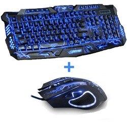 ثلاثية الألوان الخلفية الكمبيوتر الألعاب Teclado USB بالطاقة كامل N-مفتاح لعبة لوحة المفاتيح لسطح المكتب الكمبيوتر المحمول الروسية ملصقا