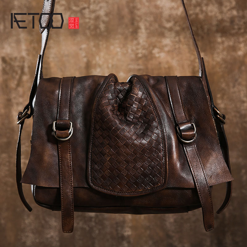 AETOO Original handmade male package tanned leather shoulder bag retro Messenger bag leisure first layer cowhide nostalgia aetoo spring and summer new leather handmade handmade first layer of planted tanned leather retro bag backpack bag