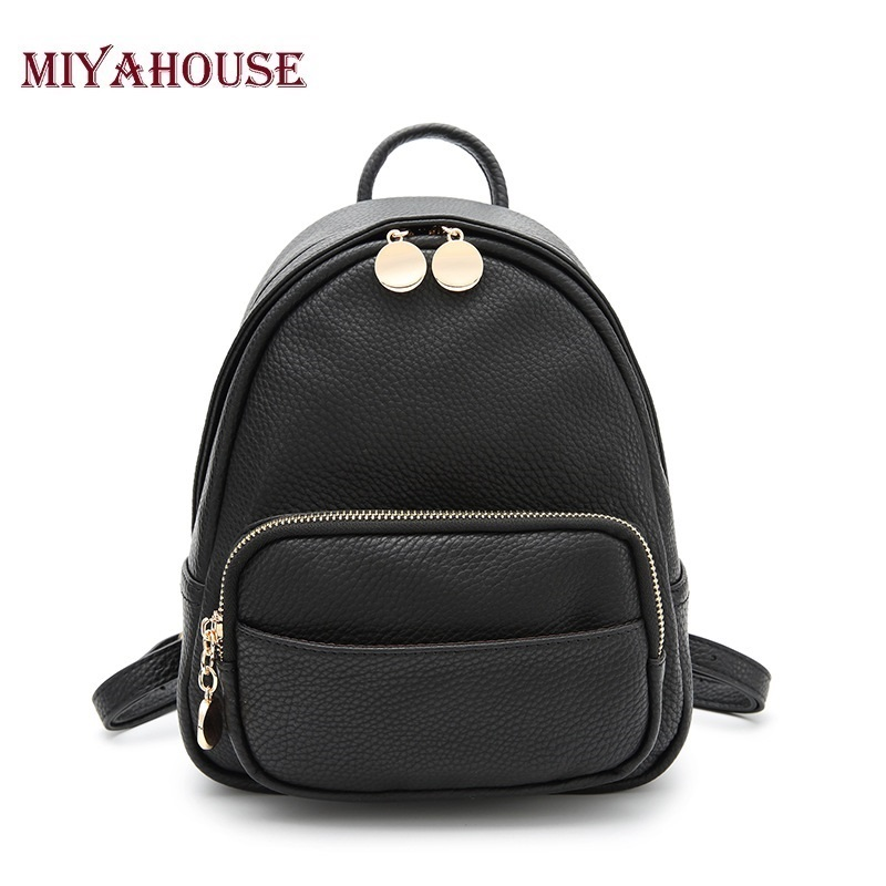 Miyahouse Fashion Women Backpack Quality PU Leather Backpack Small Shoulder Bag School Bags For Teenage Girls Mini Backpacks miyahouse new fashion pu leather backpack women school bags for teenagers girls travel backpack female high quality shoulder bag