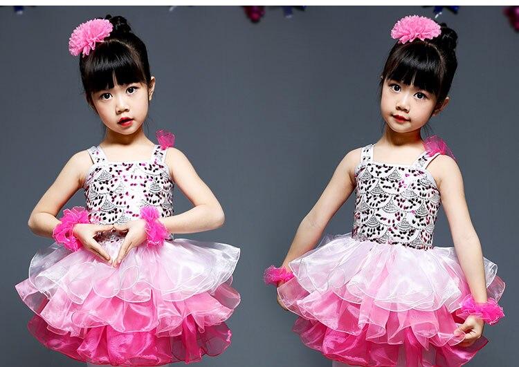 Балетное платье для девочек; танцевальные костюмы для девочек; танцевальный костюм для девочек; танцевальная одежда для сцены - Цвет: Розовый