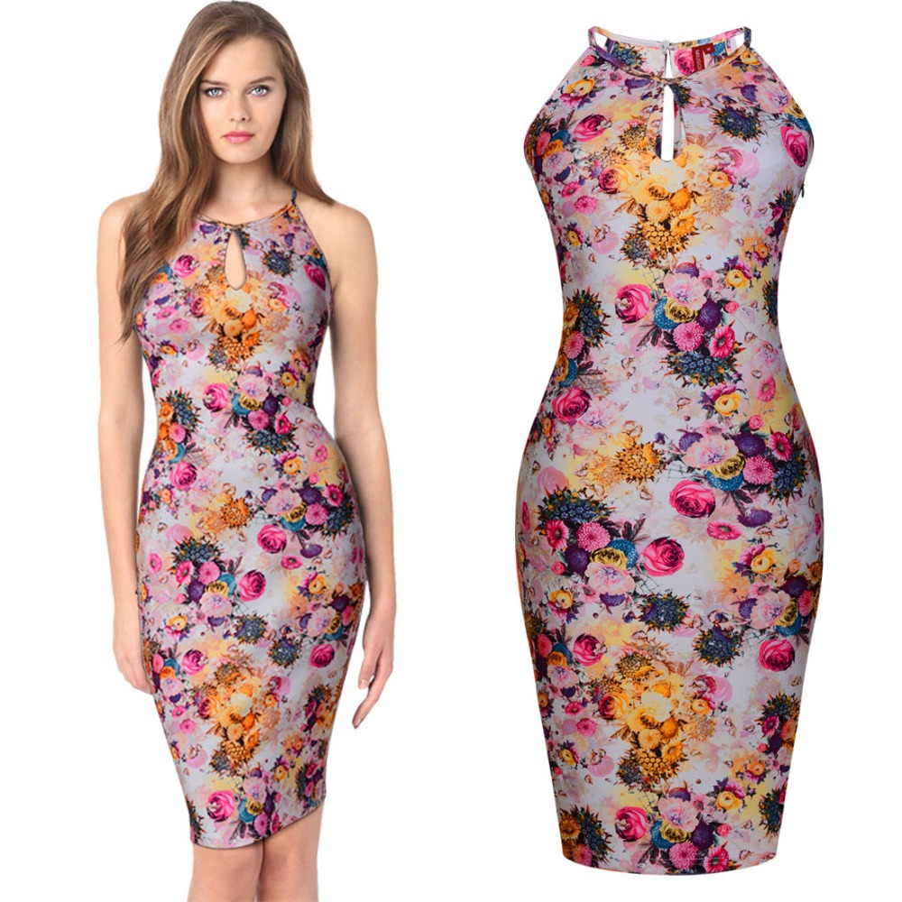 d05f37512f7 Free shipping Womens Floral Print Hawaiian Summer dress Holiday Stretch  Bodycon Keyhole Halter Dresses Fashion elegant dress-in Dresses from  Women s ...